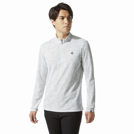 Tonal Color Graphic Half Zip L/S Mock