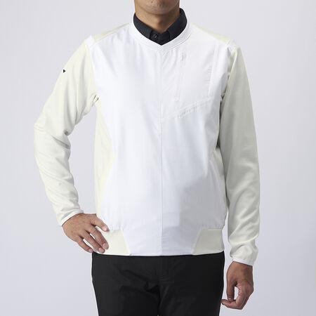 ラインドVネック ファブリックミックスジャケット