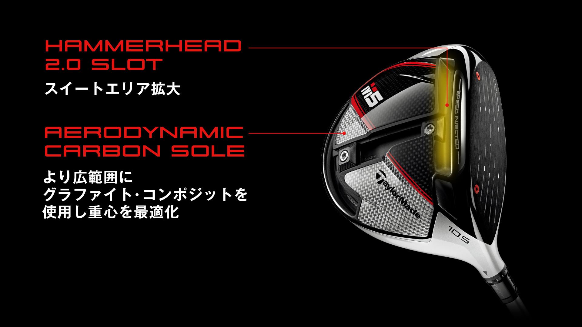 「ハンマーヘッド2.0 スロット」「エアロダイナミックカーボンソール」
