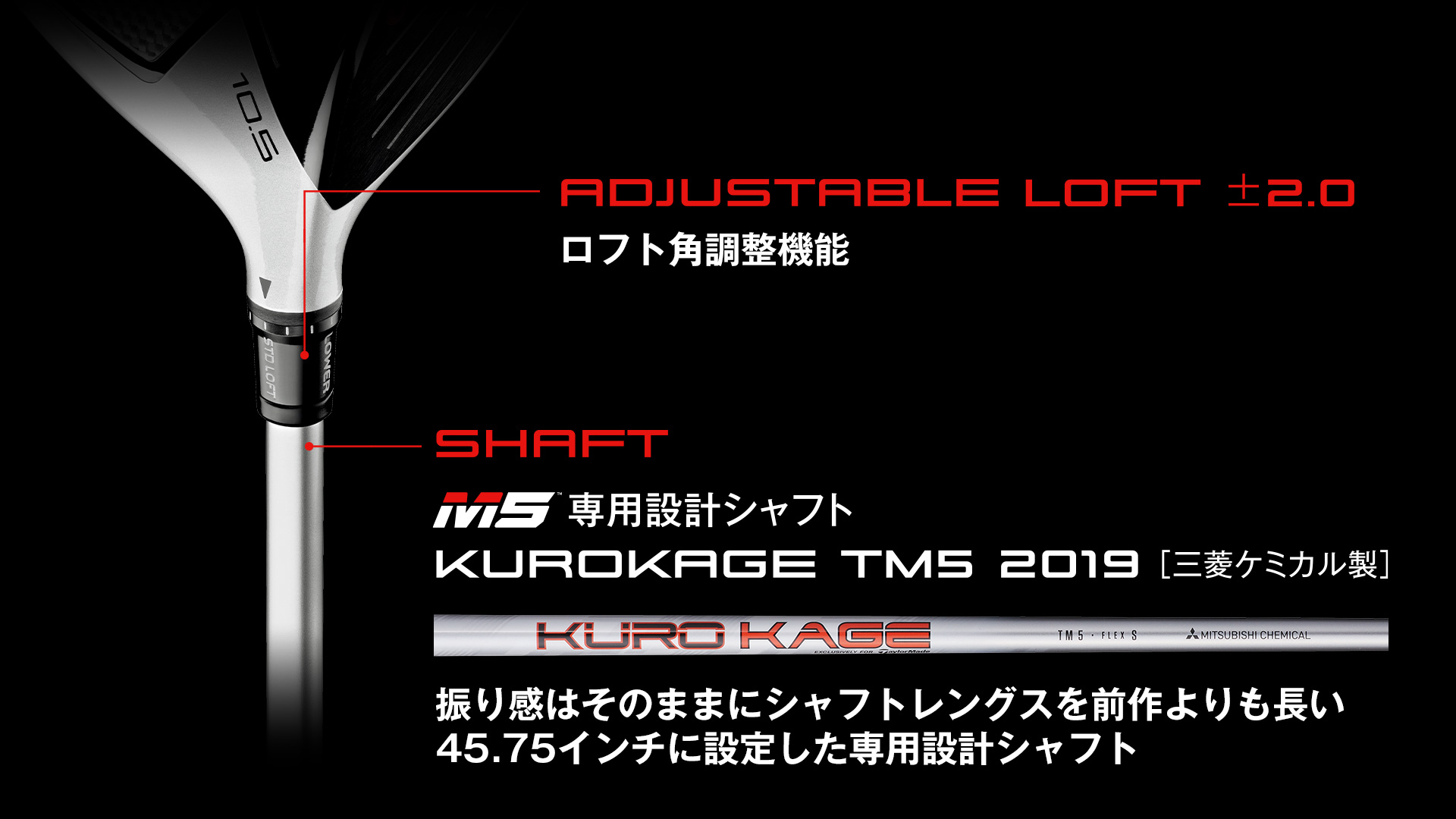 「ロフト角調整機能」「M5専用設計シャフト」
